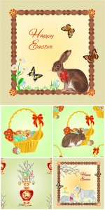 Easter vector easter bunny basket with Easter eggs