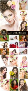 Beautiful girl with flowers - Stock photo collection