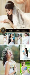 Bride, beautiful woman in a wedding dress - Stock Photo