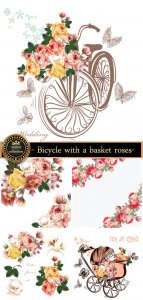 Bicycle with a basket, roses and butterflies, vector backgrounds