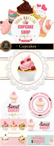 Cupcakes, vector backgrounds and labels