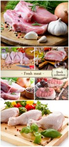 Fresh meat, chicken, pork - Stock photo