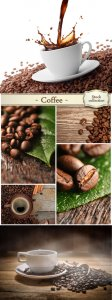 Cup of coffee, coffee beans - Stock Photo