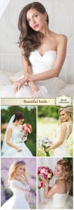 Beautiful bride with flowers - wedding Stock Photo