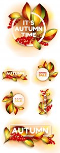 Autumn sale, backgrounds vector