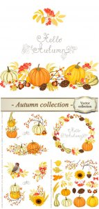Autumn vector collection, pumpkin, sunflower, rowan