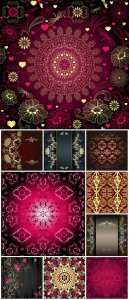 Beautiful vector background with golden patterns