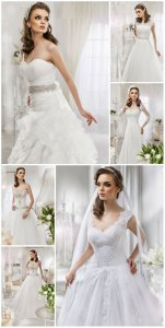 Bride in a luxurious wedding dress - Stock photo