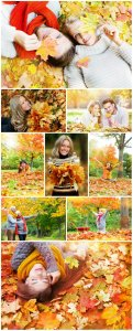 Autumn, people on nature - Stock photo