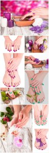 Manicures and pedicures, hand and foot - stock photos
