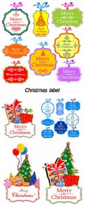 Christmas label, background vector